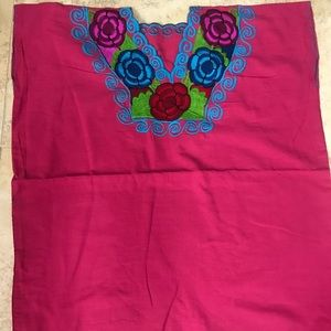 Mexican Plus Size Blouse 4XL Hot Pink Embroidered